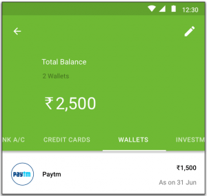 Wallet balance in the Accounts section